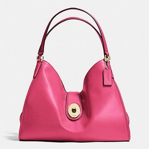 Coach CARLYLE SHOULDER BAG PINK SMOOTH LEATHER